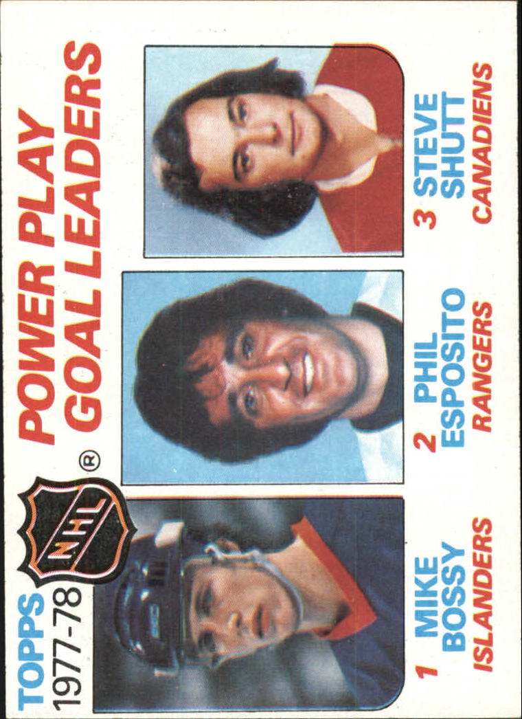 1978-79 Topps #67 Power Play Goal/Leaders/Mike Bossy/Phil Esposito/Steve Shutt