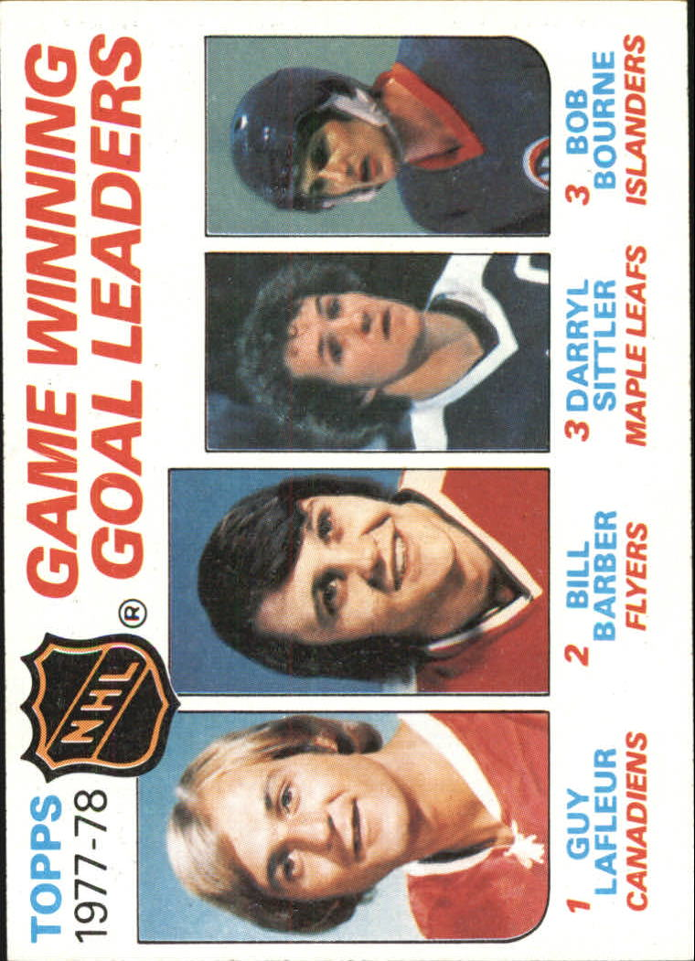1978-79 Topps #69 Game Winning/Goal Leaders/Guy Lafleur/Bill Barber/Darryl Sittler/Bob Bourne front image