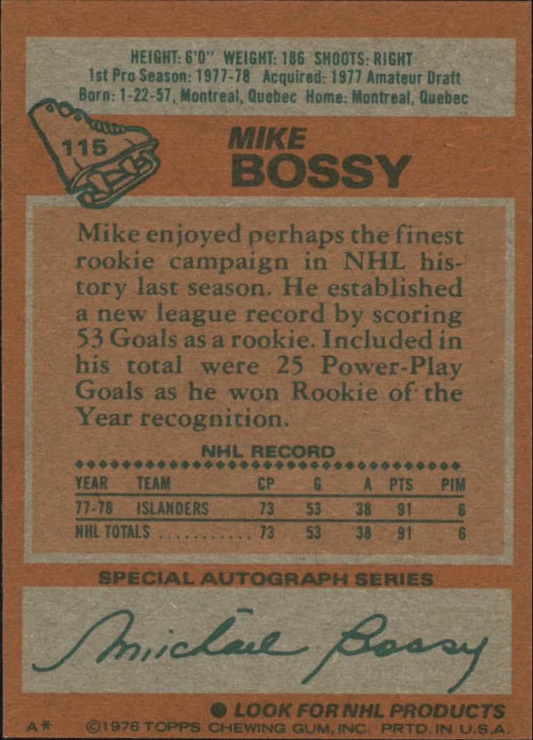 1978-79 Topps #115 Mike Bossy RC back image