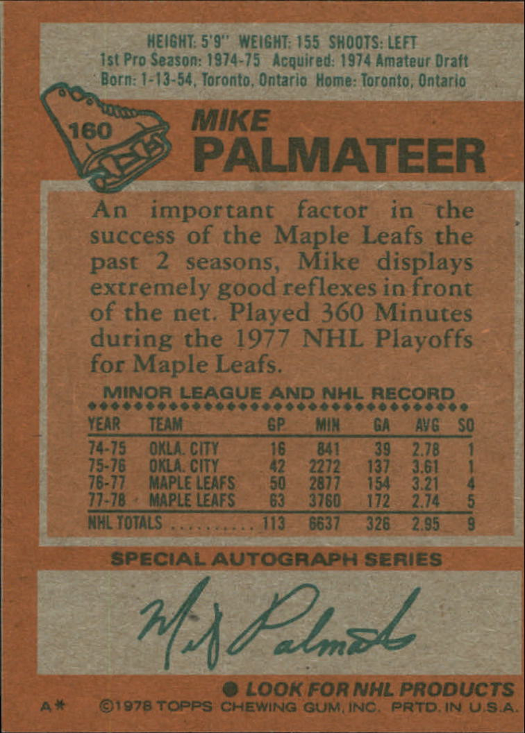 1978-79 Topps #160 Mike Palmateer back image