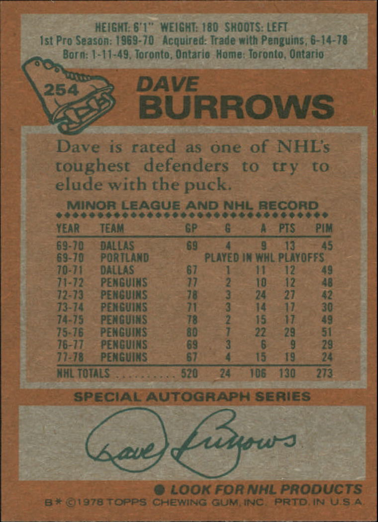 1978-79 Topps #254 Dave Burrows back image