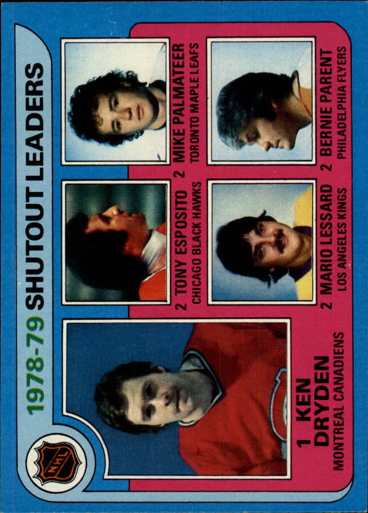 1979-80 Topps #8A Shutout Leaders ERR/Ken Dryden/Tony Esposito/Mario Lessard/Mike Palmateer/Bernie Parent/(Palmateer and Lessard/photos switched)