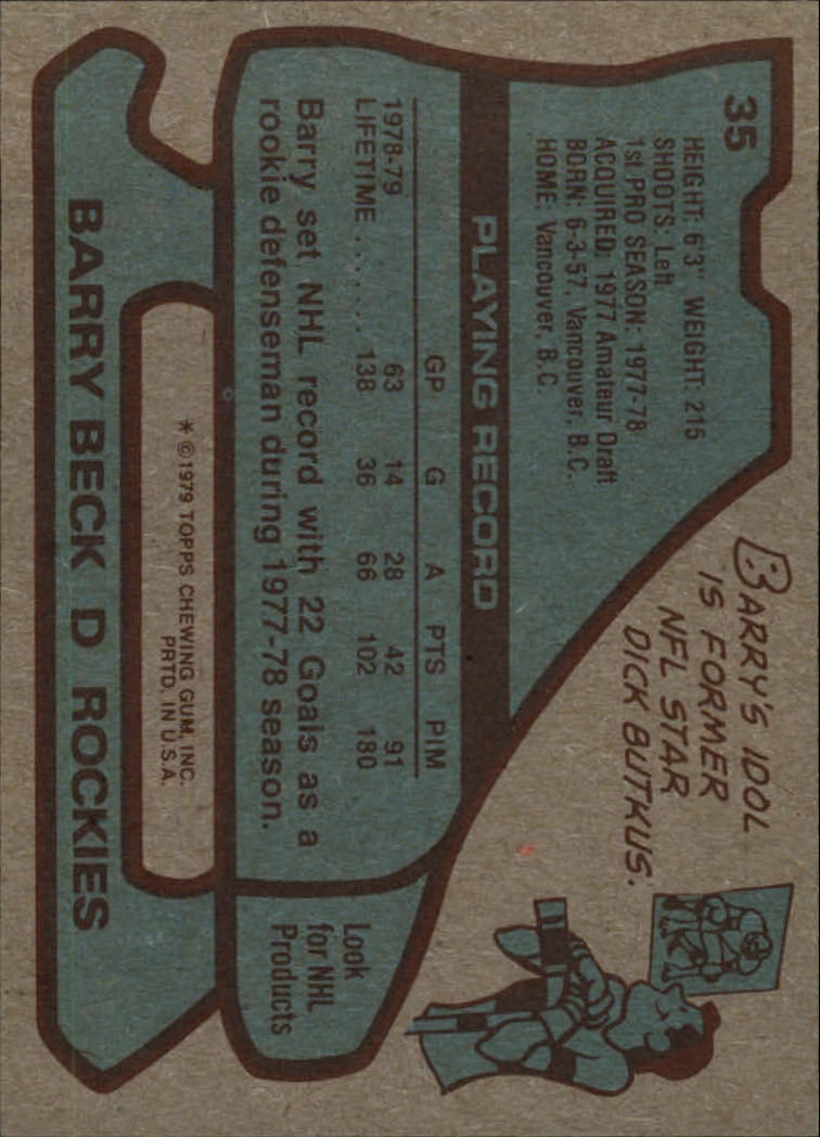 1979-80 Topps #35 Barry Beck back image