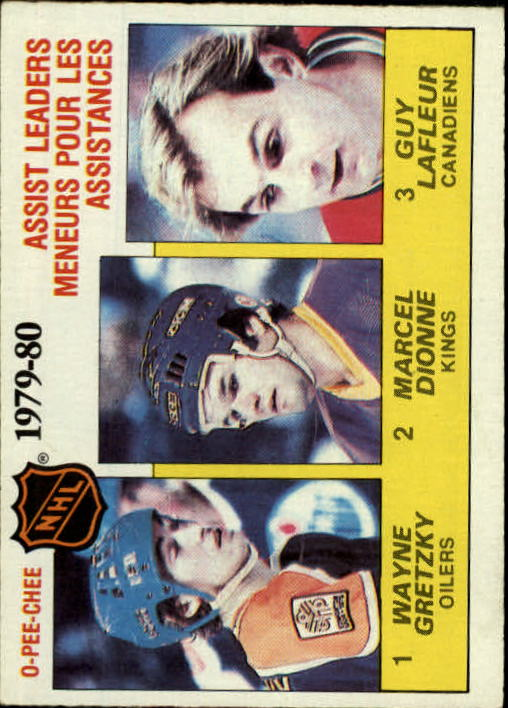 1980-81 O-Pee-Chee #162 Assists Leaders/Wayne Gretzky (1)/Marcel Dionne (2)/Guy Lafleur (3)