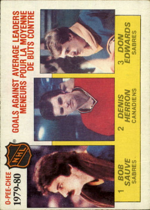 1980-81 O-Pee-Chee #166 Goals Against Avg./Leaders/Bob Sauve (1)/Denis Herron (2)/Don Edwards (3)