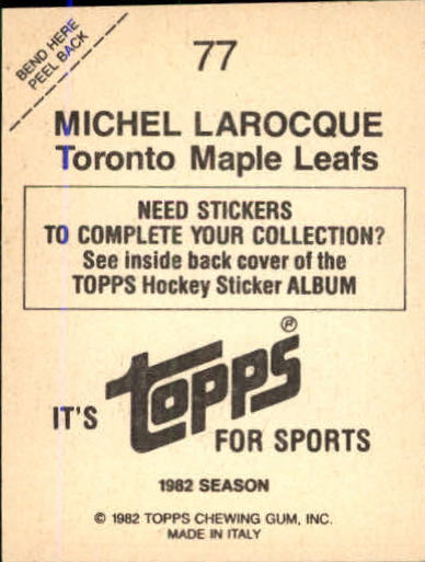 1982-83 Topps Stickers #77 Michel Larocque