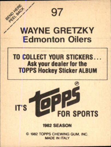 1982-83 Topps Stickers #97 Wayne Gretzky back image