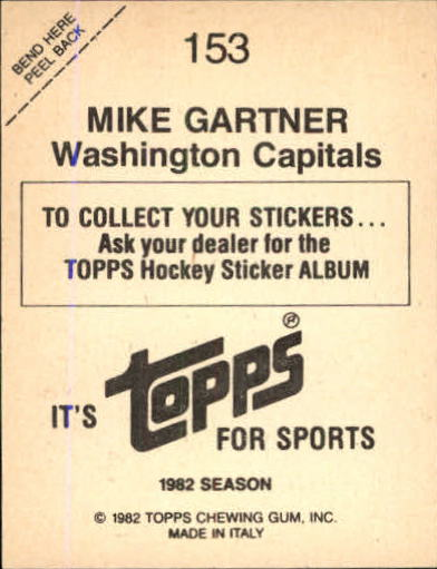 1982-83 Topps Stickers #153 Mike Gartner back image