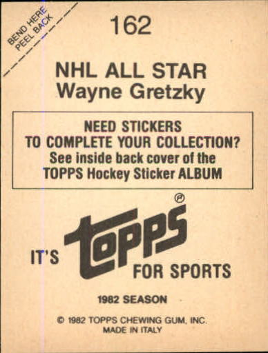 1982-83 Topps Stickers #162 Wayne Gretzky AS/FOIL back image