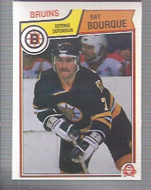 1983-84 O-Pee-Chee #45 Ray Bourque UER/Text on back indicates Ray/won the Calder in 1978-79