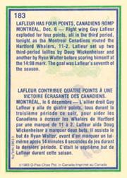 1983-84 O-Pee-Chee #183 Guy Lafleur HL back image