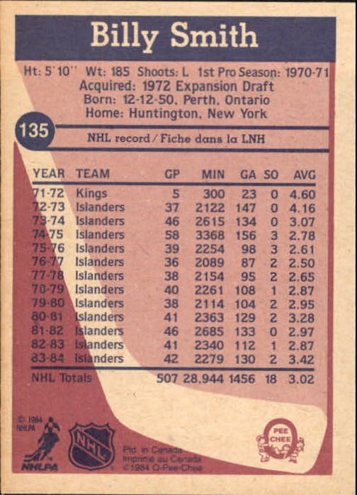 1984-85 O-Pee-Chee #135 Billy Smith