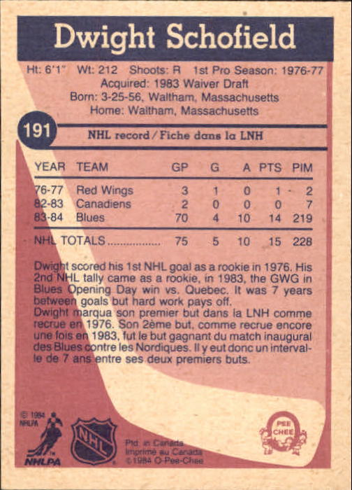 1984-85 O-Pee-Chee #191 Dwight Schofield RC back image