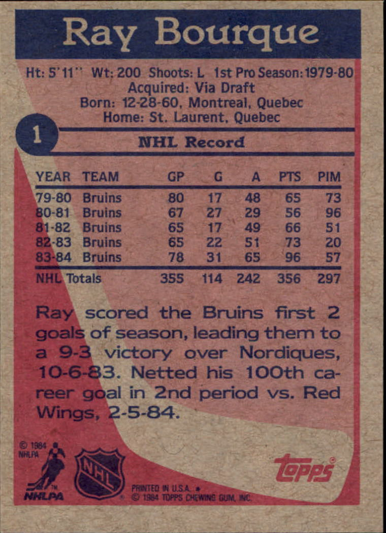 1984-85 Topps #1 Ray Bourque back image