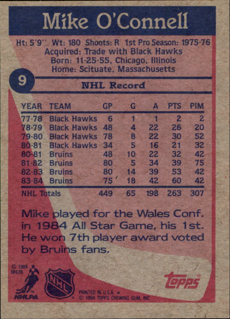 1984-85 Topps #9 Mike O'Connell back image