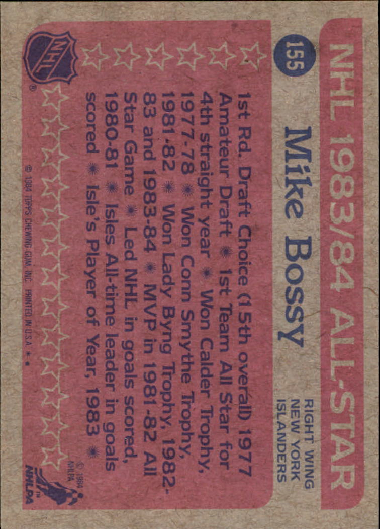 1984-85 Topps #155 Mike Bossy AS back image