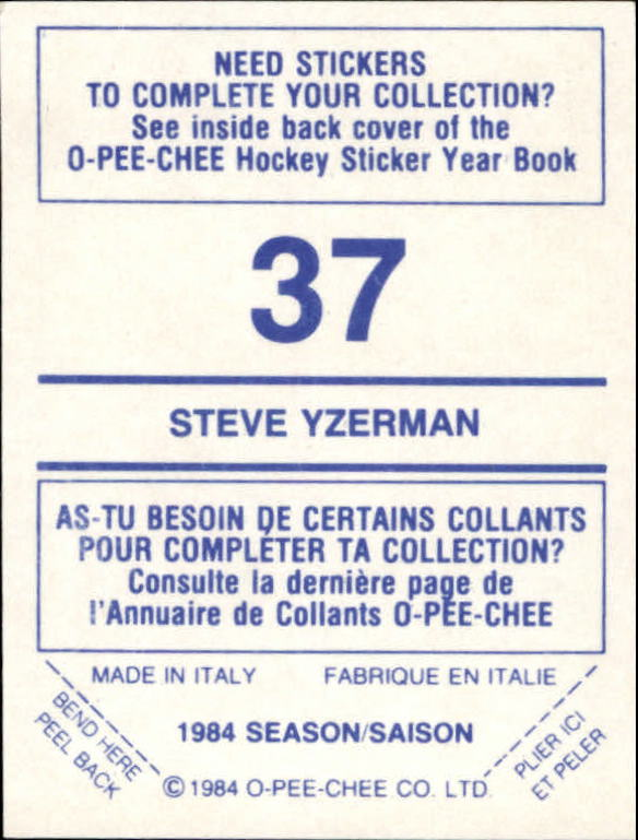 1984-85 O-Pee-Chee Stickers #37 Steve Yzerman