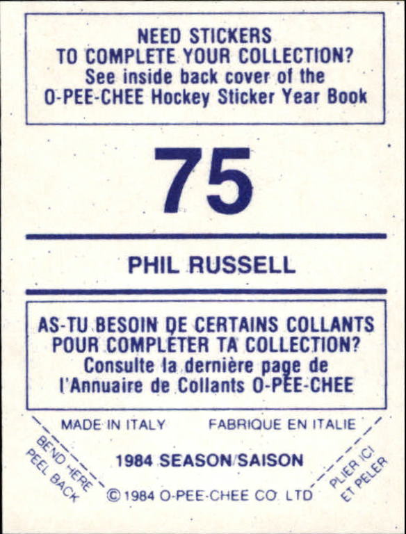 1984-85 O-Pee-Chee Stickers #75 Phil Russell