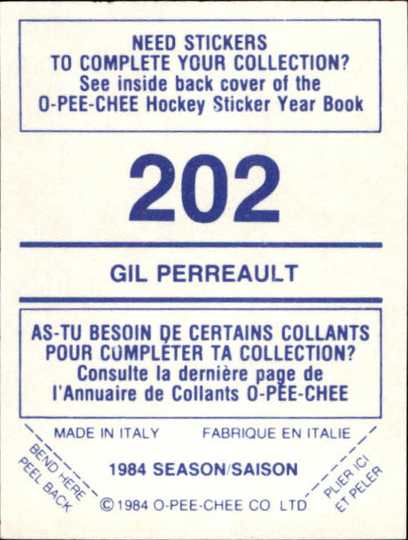 1984-85 O-Pee-Chee Stickers #202 Gilbert Perreault