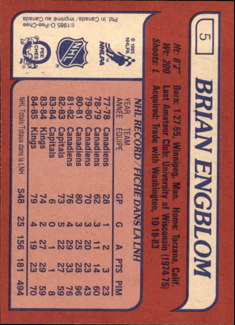 1985-86 Topps #5 Brian Engblom back image