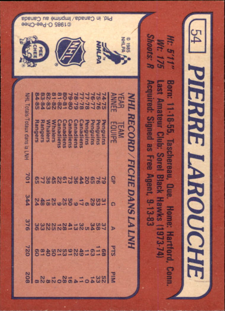 1985-86 Topps #54 Pierre Larouche SP back image