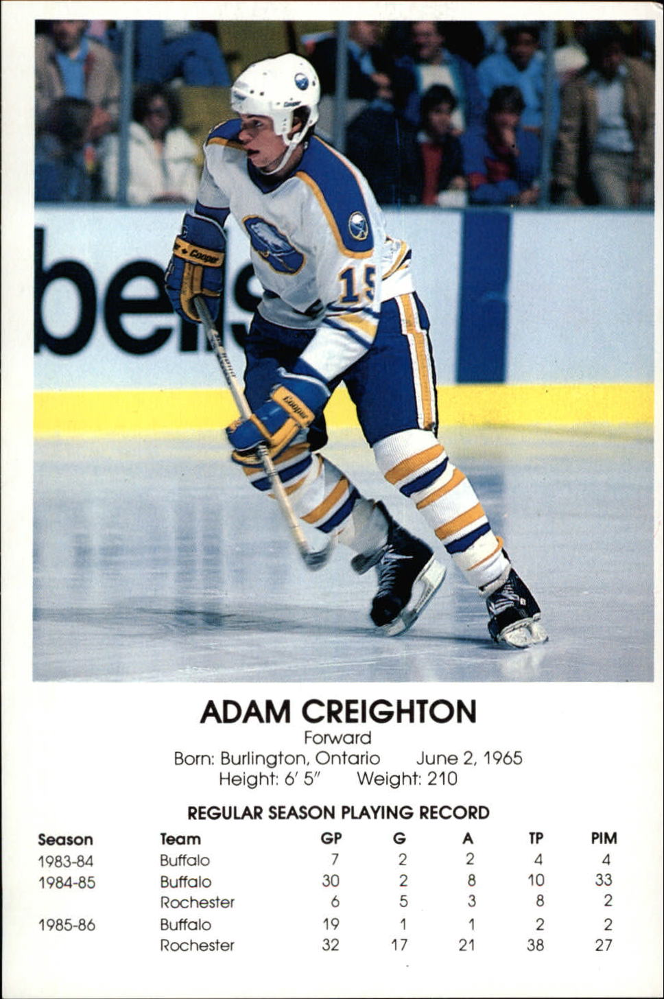 1986-87 Sabres Blue Shield #6 Adam Creighton