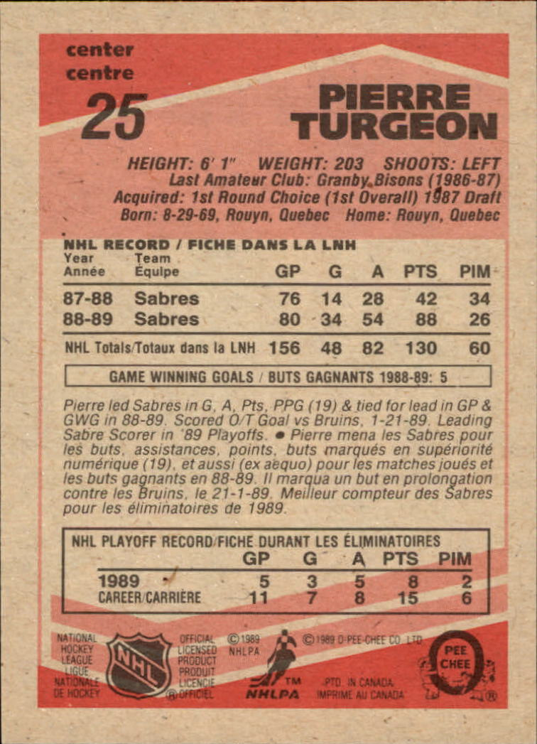 1989-90 O-Pee-Chee #25 Pierre Turgeon back image