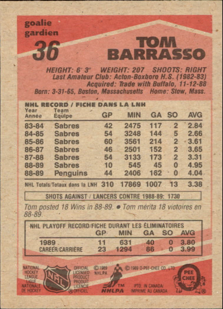 1989-90 O-Pee-Chee #36 Tom Barrasso back image