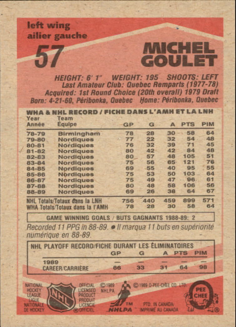 1989-90 O-Pee-Chee #57 Michel Goulet back image