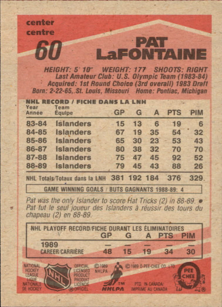1989-90 O-Pee-Chee #60 Pat LaFontaine back image