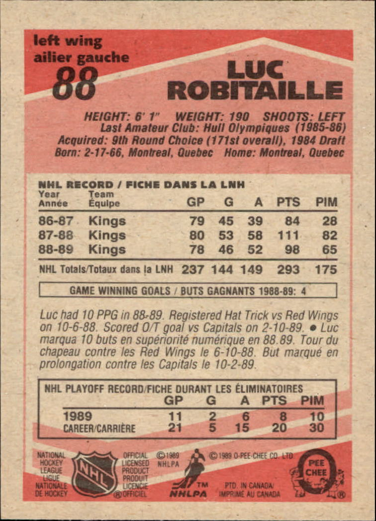 1989-90 O-Pee-Chee #88 Luc Robitaille back image