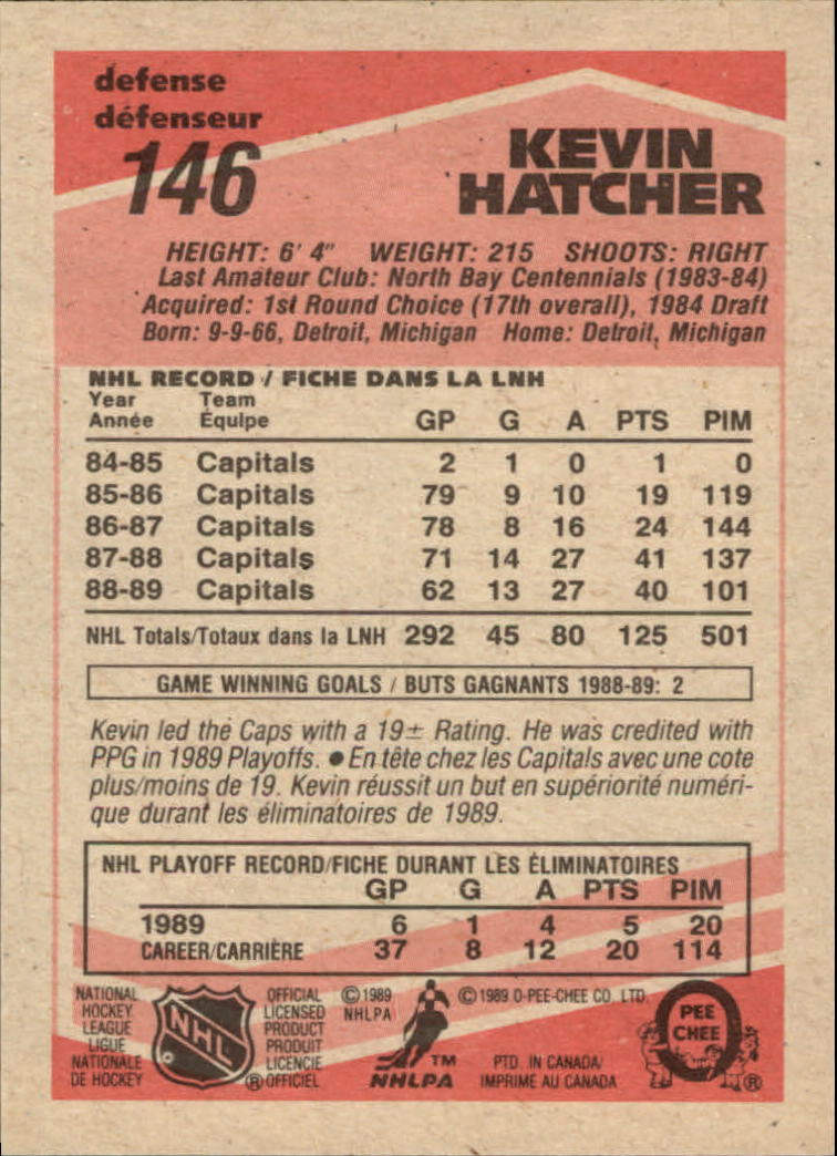 1989-90 O-Pee-Chee #146 Kevin Hatcher back image