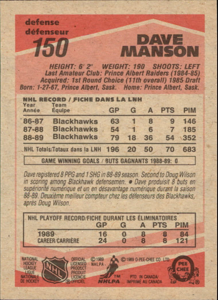 1989-90 O-Pee-Chee #150 Dave Manson RC back image