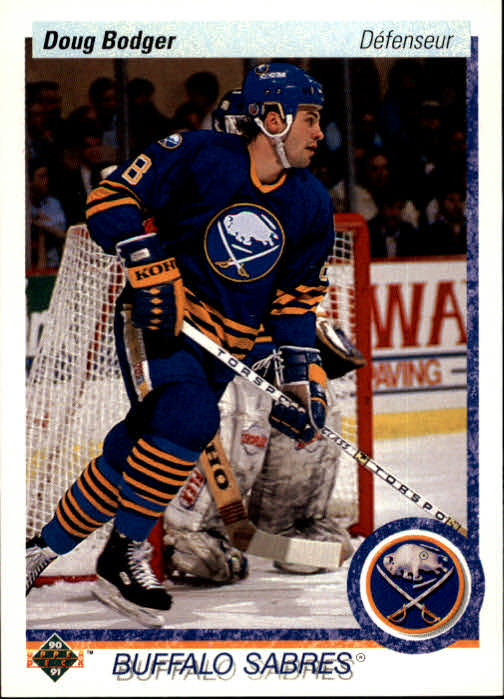 1990-91 Upper Deck French #50 Doug Bodger UER/(Birthplace should/be Chemainus)
