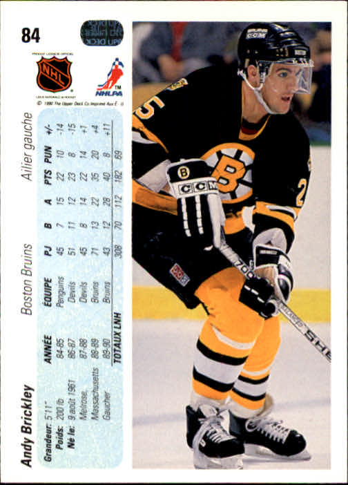 1990-91 Upper Deck French #84 Andy Brickley back image