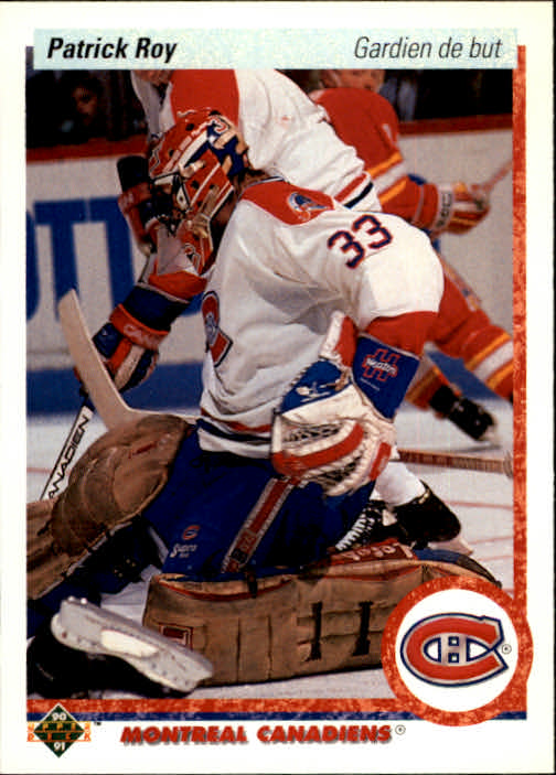 1990-91 Upper Deck French #153 Patrick Roy UER/feet and inches reversed