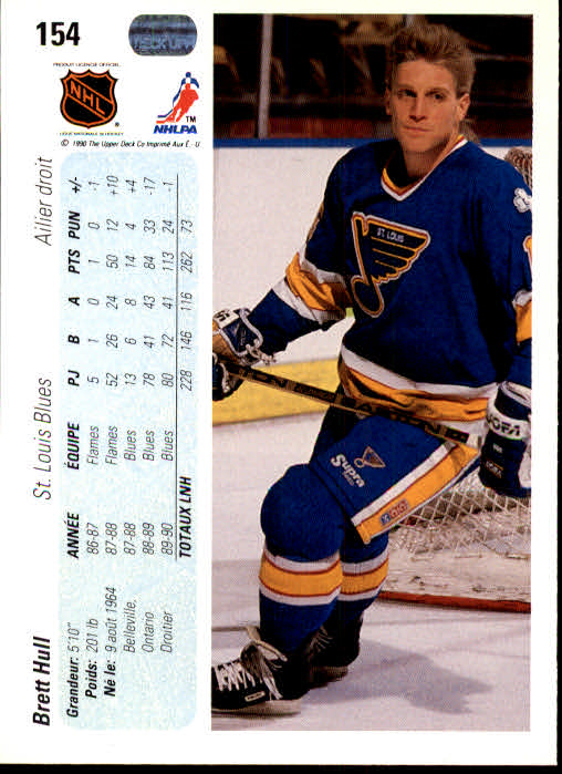 1990-91 Upper Deck French #154 Brett Hull back image