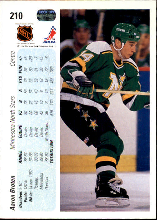 1990-91 Upper Deck French #210 Aaron Broten