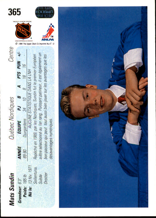 1990-91 Upper Deck French #365 Mats Sundin RC back image
