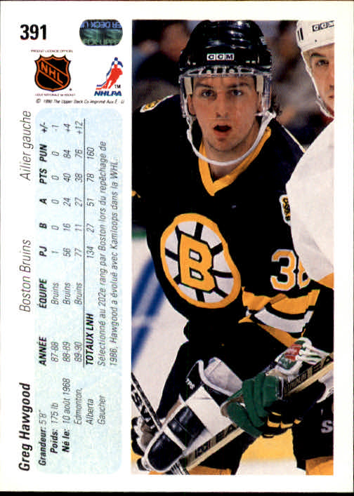 1990-91 Upper Deck French #391 Greg Hawgood back image