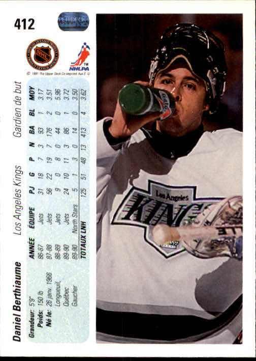 1990-91 Upper Deck French #412 Daniel Berthiaume back image