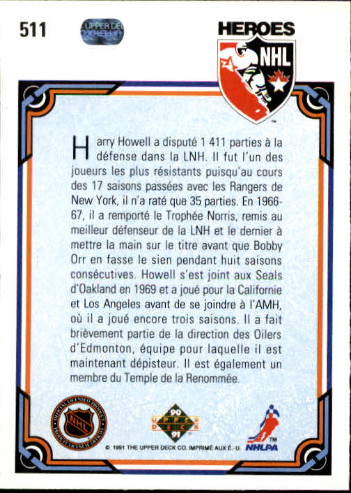 1990-91 Upper Deck French #511 Harry Howell HERO back image
