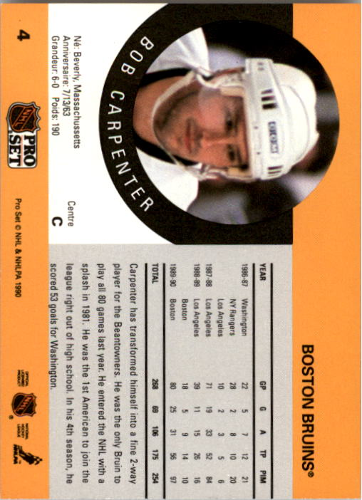 1990-91 Pro Set #4 Bob Carpenter back image