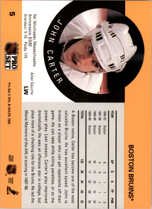 1990-91 Pro Set #5 John Carter RC back image