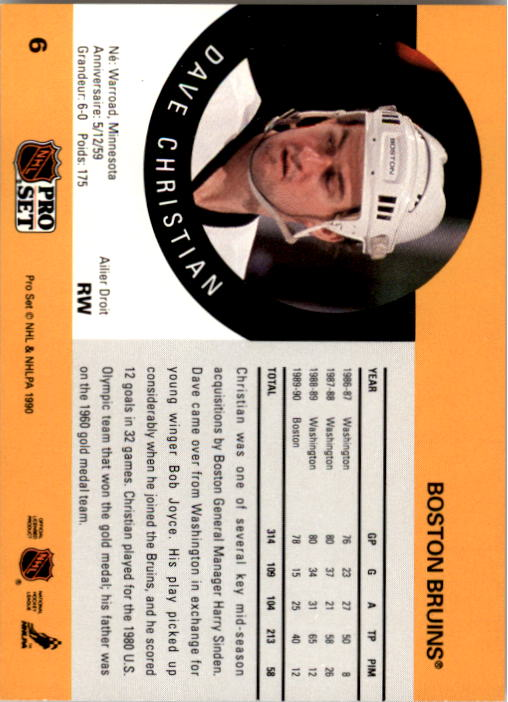 1990-91 Pro Set #6 Dave Christian UER/(28 games with Washington/50 with Boston) back image