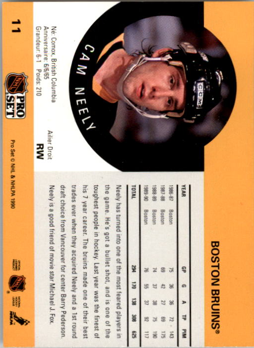 1990-91 Pro Set #11 Cam Neely UER/(Bruins not cap-/italized in text) back image