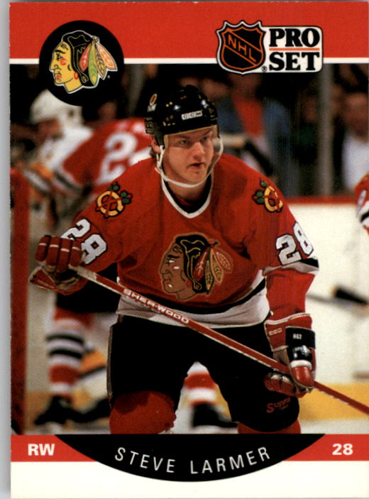 1990-91 Pro Set #53A Steve Larmer ERR/(Position and sweater/number in white&/should be black)