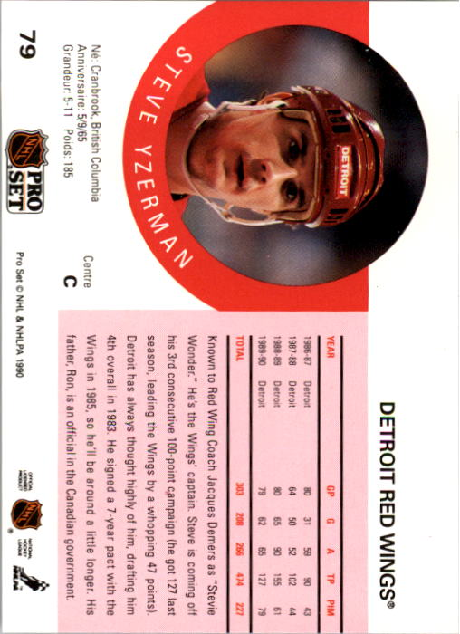 1990-91 Pro Set #79 Steve Yzerman back image