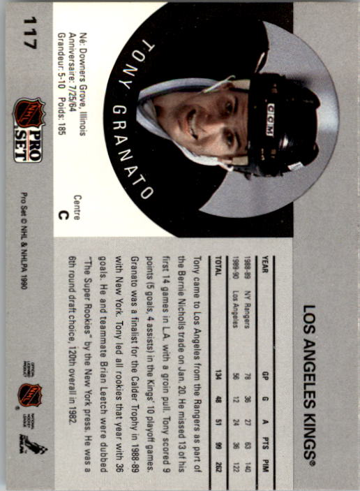 1990-91 Pro Set #117 Tony Granato UER/(Plays RW, not C) back image