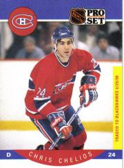 1990-91 Pro Set #147B Chris Chelios COR/Traded logo